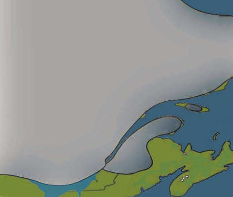 Drawing of a continental glacier in Quebec, 12,500 years ago
